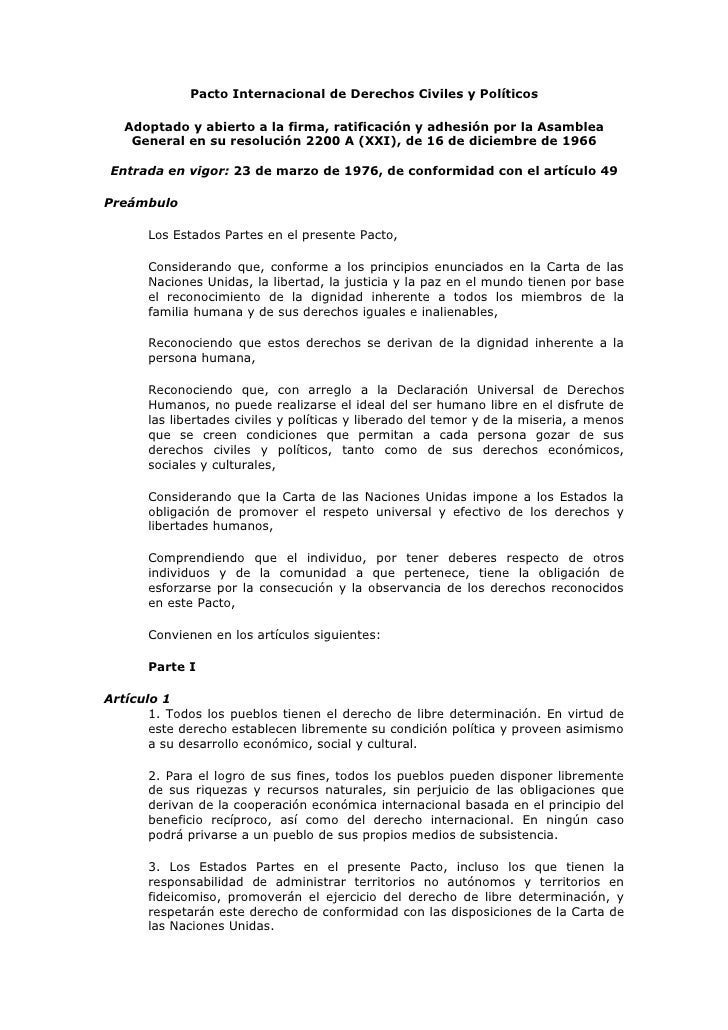 Pacto Internacional de Derechos Civiles y Políticos     Adoptado y abierto a la firma, ratificación y adhesión por la Asam...