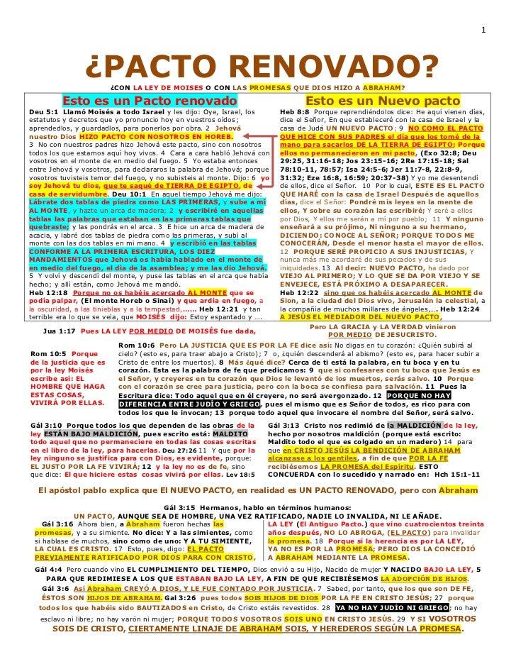 1                ¿PACTO RENOVADO?                        ¿CON LA LEY DE MOISES O CON LAS PROMESAS QUE DIOS HIZO A ABRAHAM?...