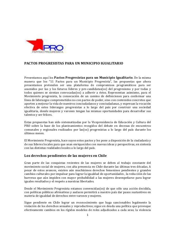 PACTOS PROGRESISTAS PARA UN MUNICIPIO IGUALITARIOPresentamos aquí los Pactos Progresistas para un Municipio Igualitario. D...