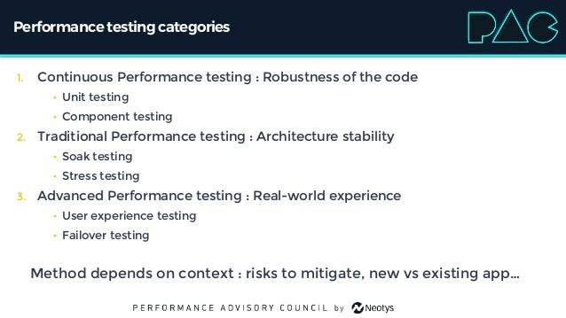 Performancetestingcategories 1. Continuous Performance testing : Robustness of the code • Unit testing • Component testing...