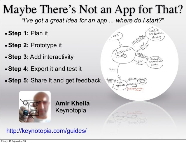 """Maybe There's Not an App for That? """"I've got a great idea for an app ... where do I start?"""" •Step 1: Plan it •Step 2: Prot..."""