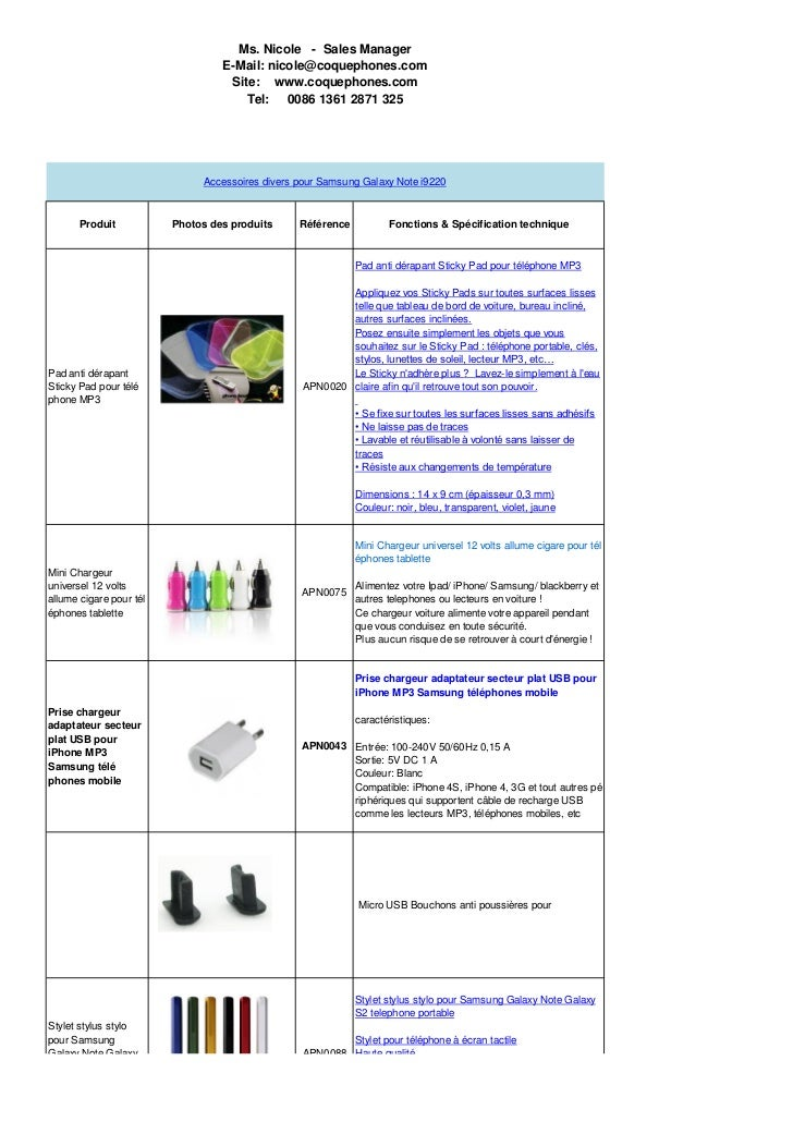 Ms. Nicole - Sales Manager                                  E-Mail: nicole@coquephones.com                                ...