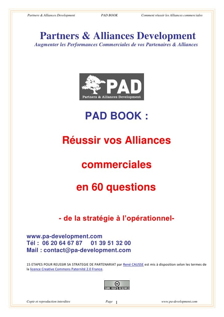 Partners & Alliances Development            PAD BOOK                Comment réussir les Alliances commerciales            ...