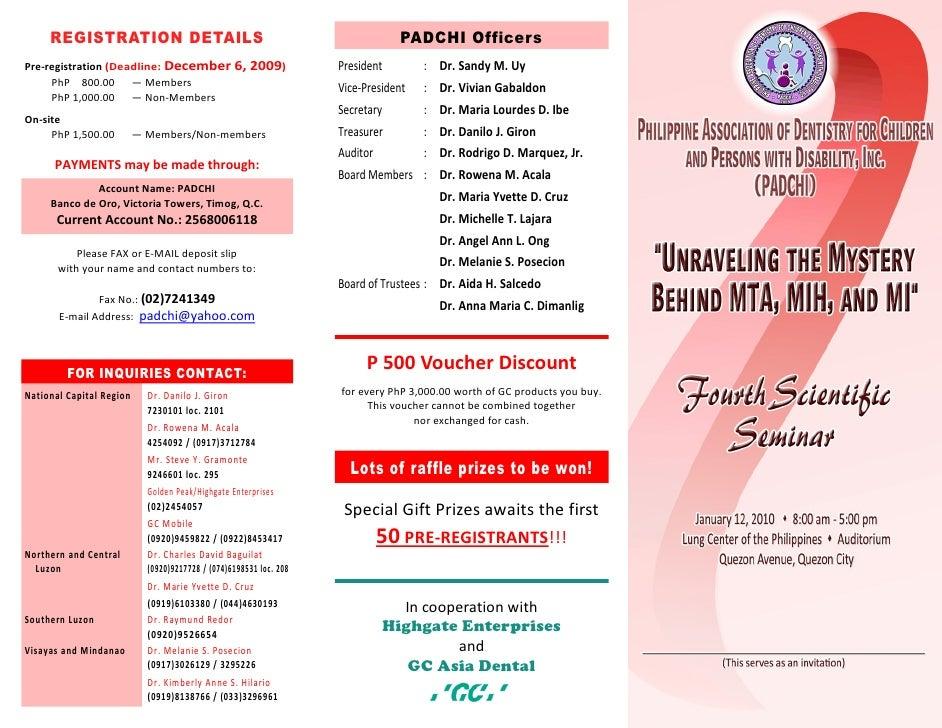 REGISTRATION DETAILS                                                       PADCHI Officers Pre-registration (Deadline: Dec...