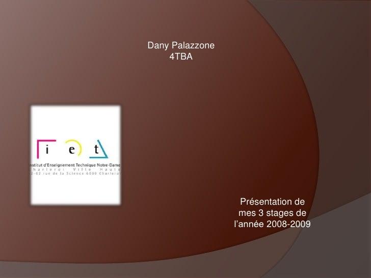 Dany Palazzone<br />4TBA<br />Présentation de <br />mes 3 stages de <br />l'année 2008-2009<br />