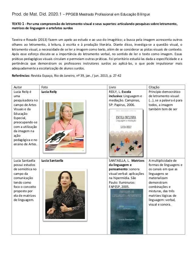 Prod. de M a t . Di d. 2020.1 – PPGEB Mestrado Profissional em Educação Bilíngue TEXTO 1 - Por uma compreensão do letramen...