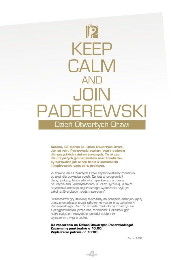 Keep calm and  join Paderewski Dzień Otwartych Drzwi  Sobota, 08 marca br. Dzień Otwartych Drzwi. Jak co roku Paderewski o...