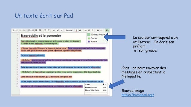 Un texte écrit sur Pad Source image https://framapad.org/ La couleur correspond à un utilisateur. On écrit son prénom et s...