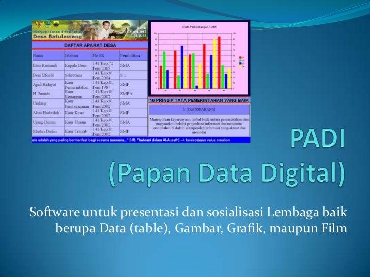 Software untuk presentasi dan sosialisasi Lembaga baik    berupa Data (table), Gambar, Grafik, maupun Film
