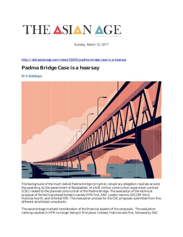 research proposal on padma bridge The padma bridge is a multipurpose road-rail bridge across the padma river to be constructed in bangladesh padma bridge is the  proposal on 24 april.