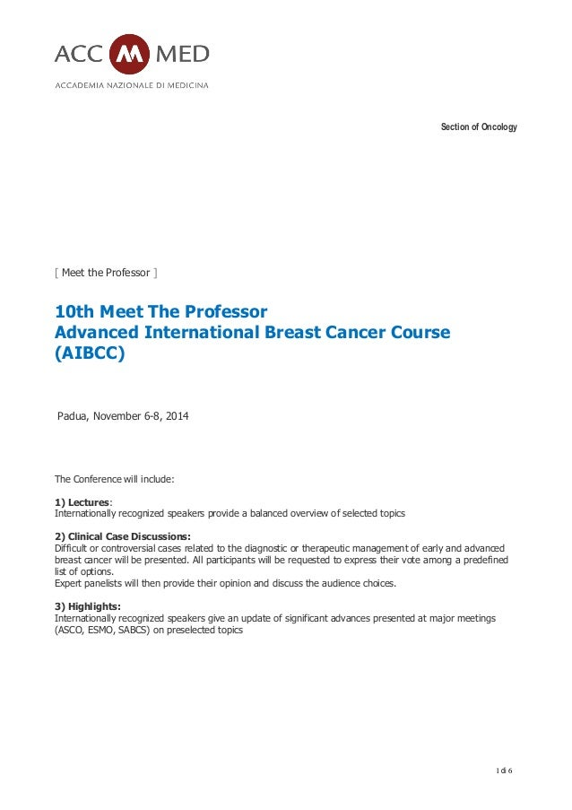 Section of Oncology 1 di 6 [ Meet the Professor ] 10th Meet The Professor Advanced International Breast Cancer Course (AIB...