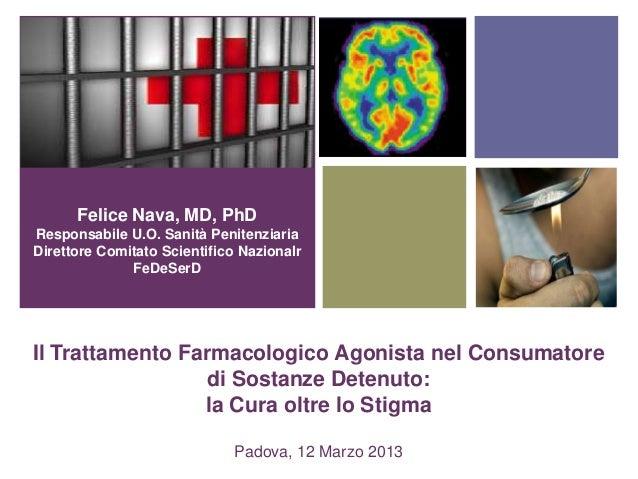 + Il Trattamento Farmacologico Agonista nel Consumatore di Sostanze Detenuto: la Cura oltre lo Stigma Padova, 12 Marzo 201...