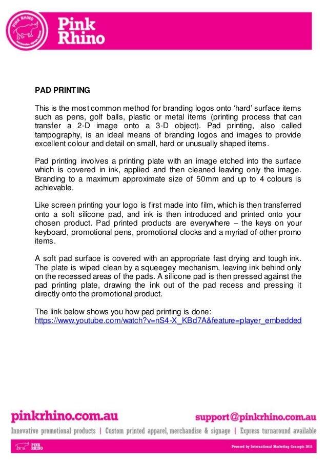 Pad printing promotional branded merchandise