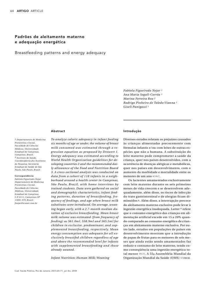 64     ARTIGO A RT I C L E          Padrões de aleitamento materno      e adequação energética       Breastfeeding pattern...