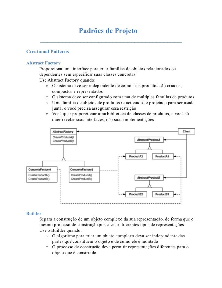 Padrões de Projeto       _______________________________________Creational PatternsAbstract Factory      Proporciona uma i...