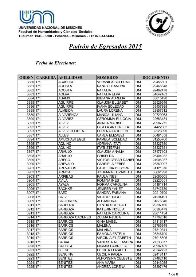 UNIVERSIDAD NACIONAL DE MISIONES Facultad de Humanidades y Ciencias Sociales Tucumán 1946 - 3300 - Posadas - Misiones - TE...