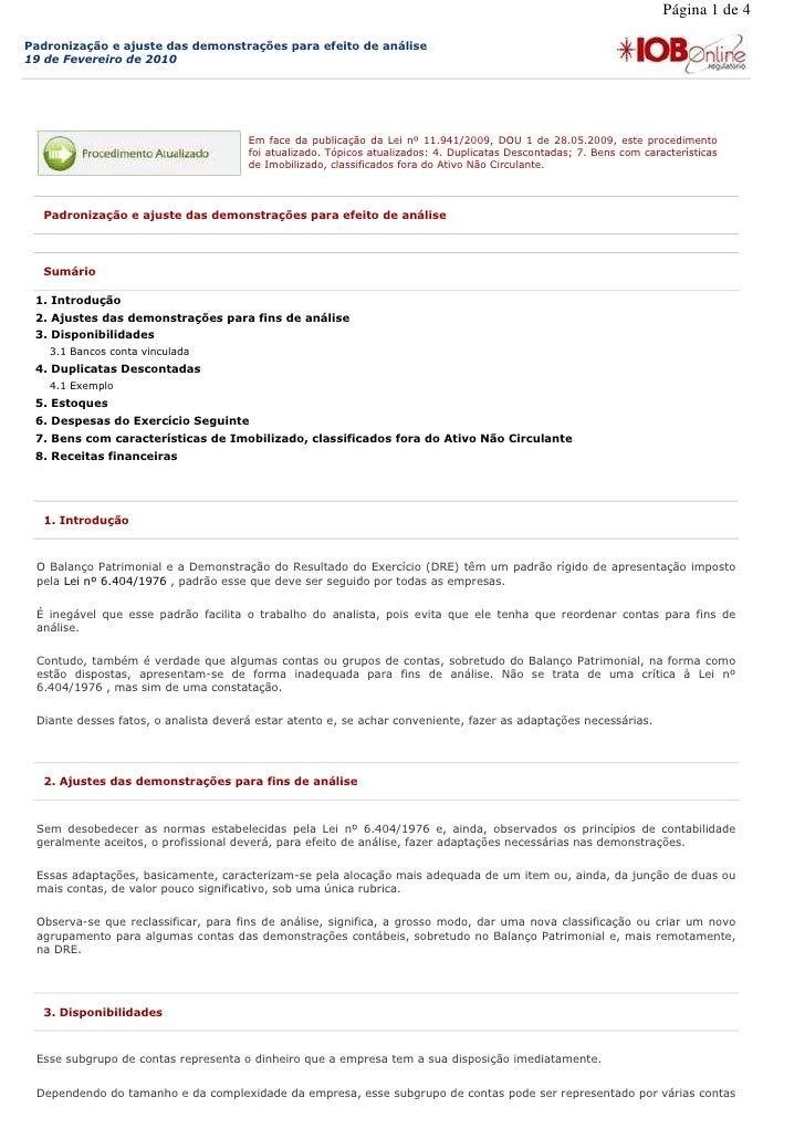 Página 1 de 4  Padronização e ajuste das demonstrações para efeito de análise 19 de Fevereiro de 2010                     ...