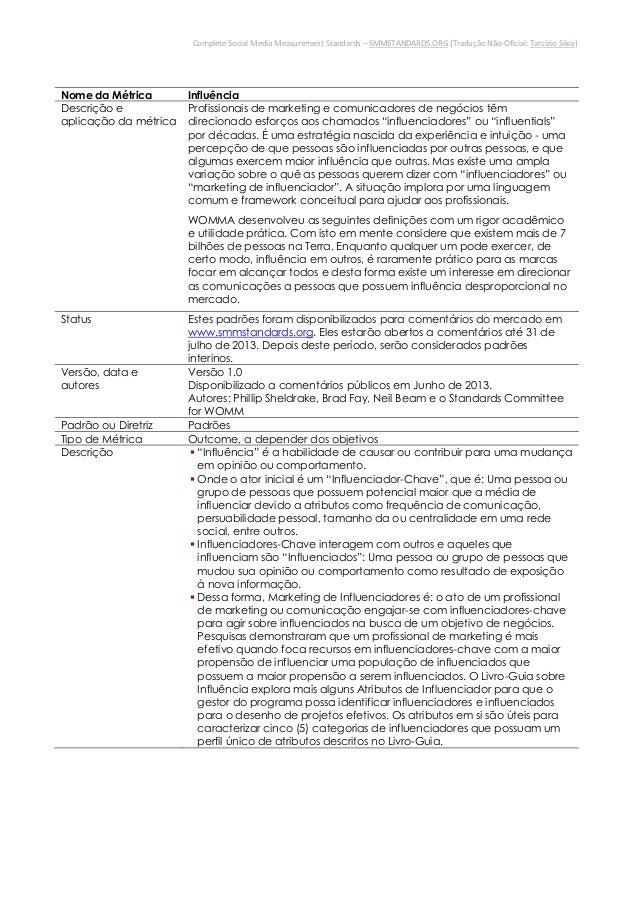 Complete Social Media Measurement Standards – SMMSTANDARDS.ORG (Tradução Não-Oficial: Tarcízio Silva)Nome da Métrica Influ...