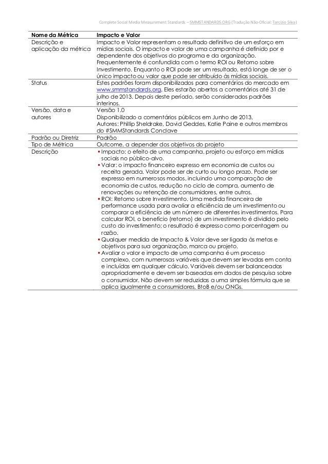 Complete Social Media Measurement Standards – SMMSTANDARDS.ORG (Tradução Não-Oficial: Tarcízio Silva)Nome da Métrica Impac...