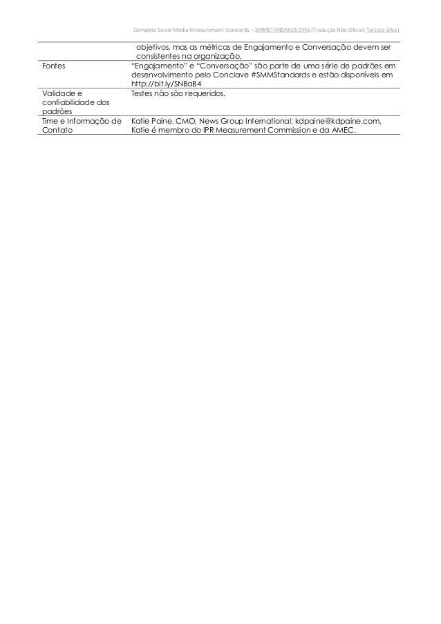 """Complete Social Media Measurement Standards – SMMSTANDARDS.ORG (Tradução Não-Oficial: Tarcízio Silva)Fontes """"Engajamento"""" ..."""