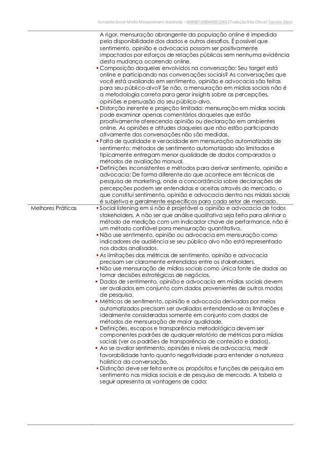 Complete Social Media Measurement Standards – SMMSTANDARDS.ORG (Tradução Não-Oficial: Tarcízio Silva)esforços de relações ...
