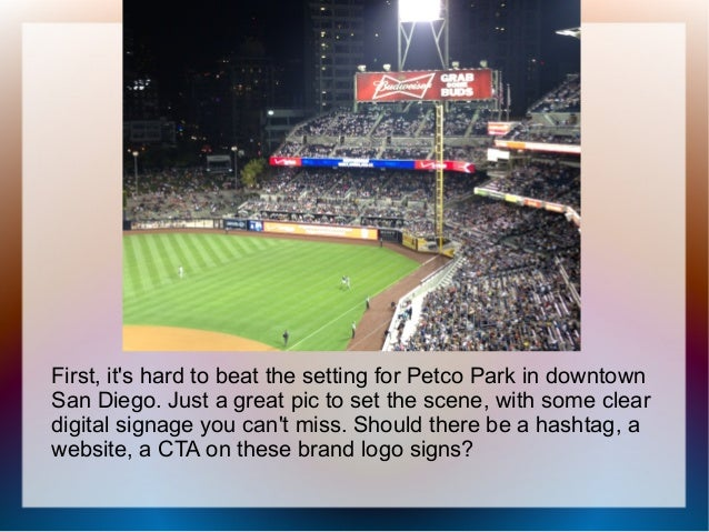 First, it's hard to beat the setting for Petco Park in downtown San Diego. Just a great pic to set the scene, with some cl...