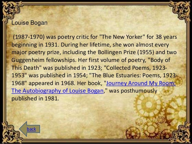 """Louise Bogan  (1987-1970) was poetry critic for """"The New Yorker"""" for 38 years  beginning in 1931. During her lifetime, she..."""