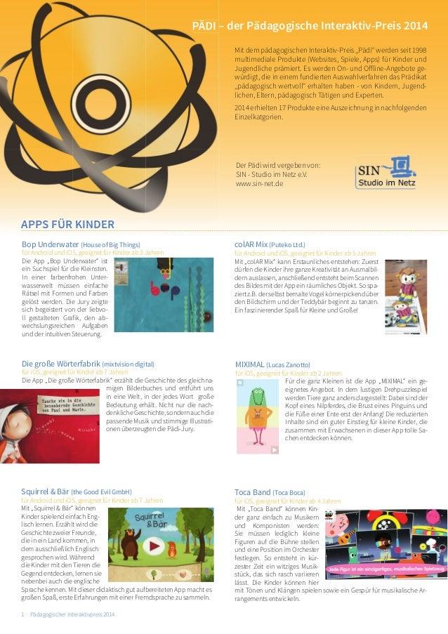 1 Pädagogischer Interaktivpreis 2014  Der Pädi wird vergeben von:  SIN - Studio im Netz e.V.  www.sin-net.de  colAR Mix (P...