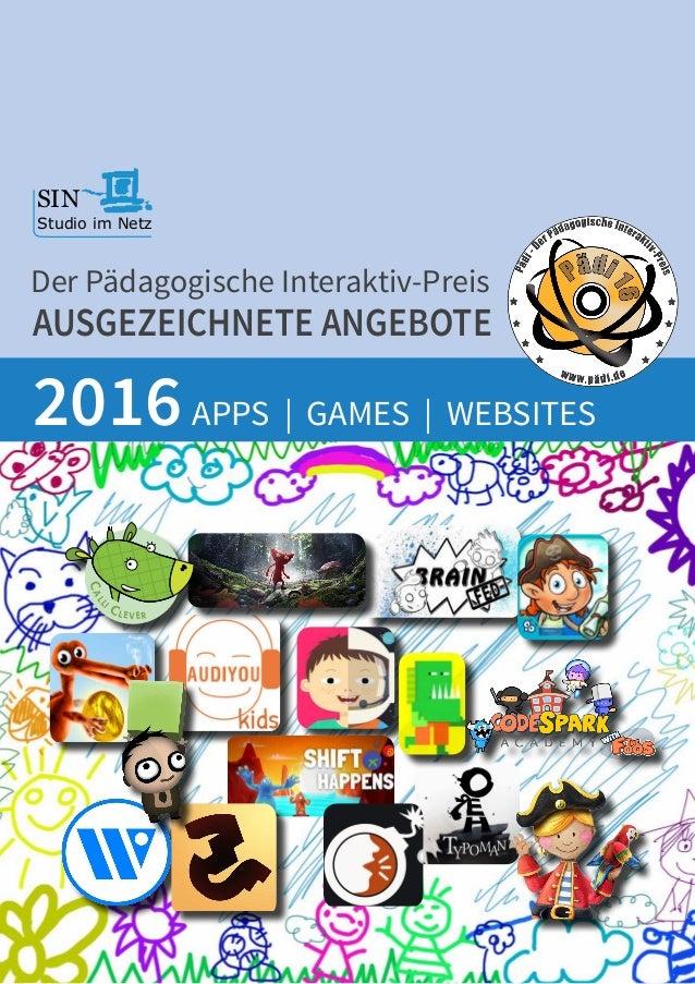 AUSGEZEICHNETE ANGEBOTE APPS | GAMES | WEBSITES2016 Der Pädagogische Interaktiv-Preis SIN Studio im Netz Lernspaß für Kind...