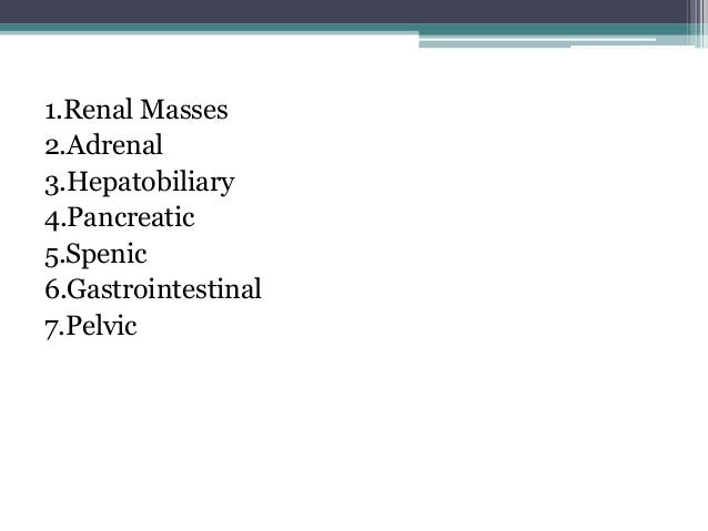 Paediatric Abdominal Masses