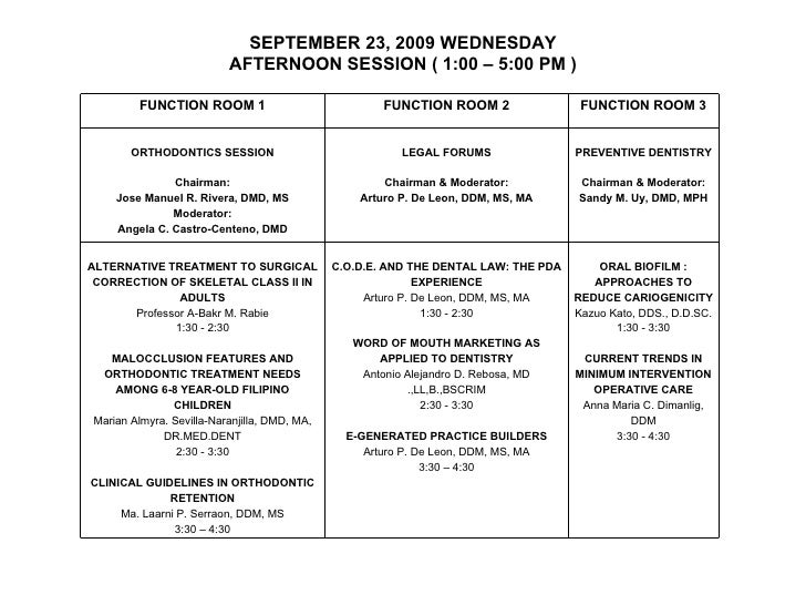 SEPTEMBER 23, 2009 WEDNESDAY AFTERNOON SESSION ( 1:00 – 5:00 PM ) FUNCTION ROOM 1 FUNCTION ROOM 2 FUNCTION ROOM 3 ORTHODON...