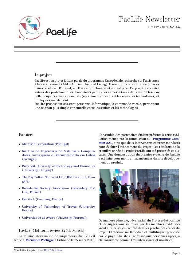 PaeLife Newsletter JUILLET 2013, NO #4 Le project PaeLife est un projet faisant partie du programme Européen de recherche ...