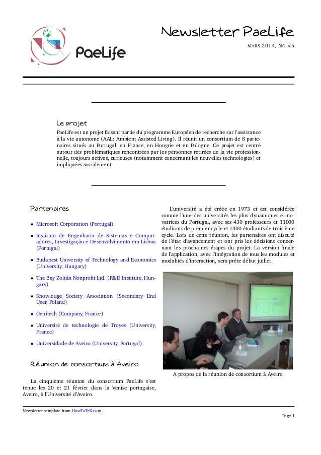 Newsletter PaeLife MARS 2014, NO #5 Le projet PaeLife est un projet faisant partie du programme Européen de recherche sur ...