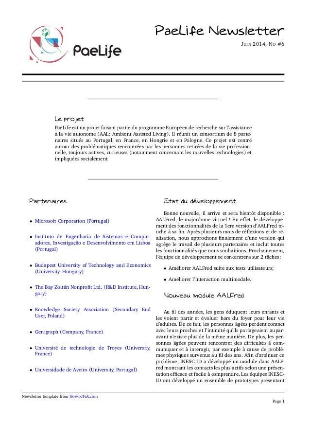 PaeLife Newsletter JUIN 2014, NO #6 Le projet PaeLife est un projet faisant partie du programme Européen de recherche sur ...