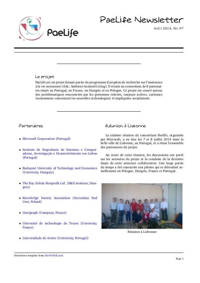 PaeLife Newsletter  AOÛT 2014, NO #7  Le projet  PaeLife est un projet faisant partie du programme Européen de recherche s...
