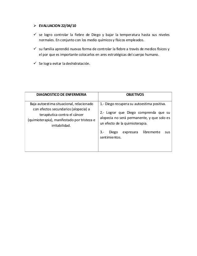  EVALUACION 22/04/10 se logro controlar la fiebre de Diego y bajar la temperatura hasta sus nivelesnormales. En conjunto...