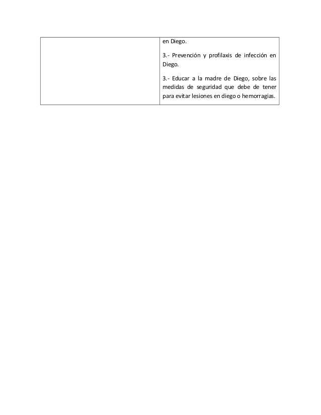 en Diego.3.- Prevención y profilaxis de infección enDiego.3.- Educar a la madre de Diego, sobre lasmedidas de seguridad qu...