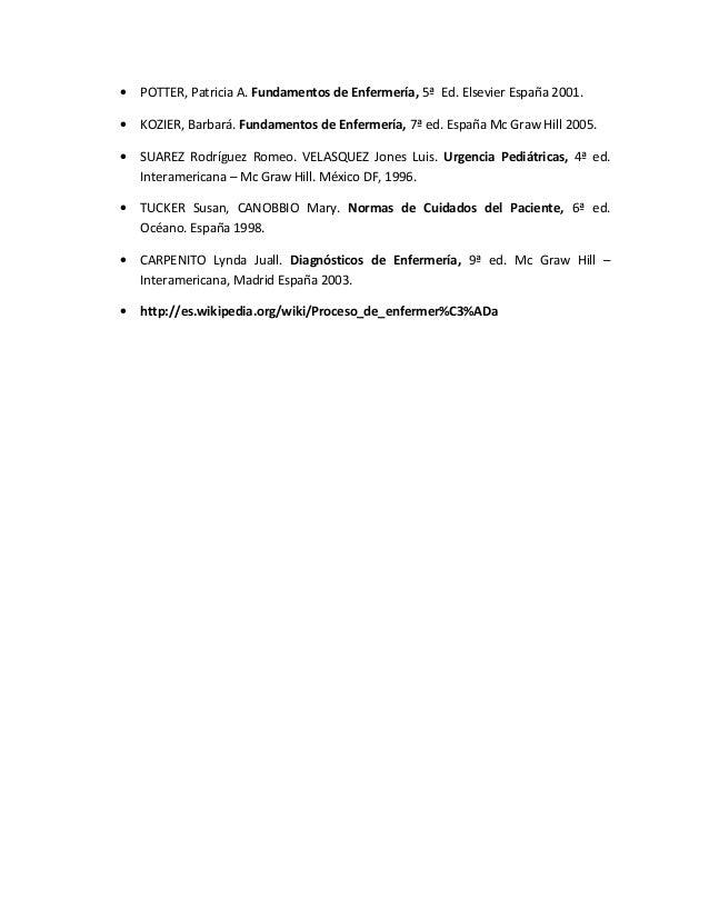 • POTTER, Patricia A. Fundamentos de Enfermería, 5ª Ed. Elsevier España 2001.• KOZIER, Barbará. Fundamentos de Enfermería,...
