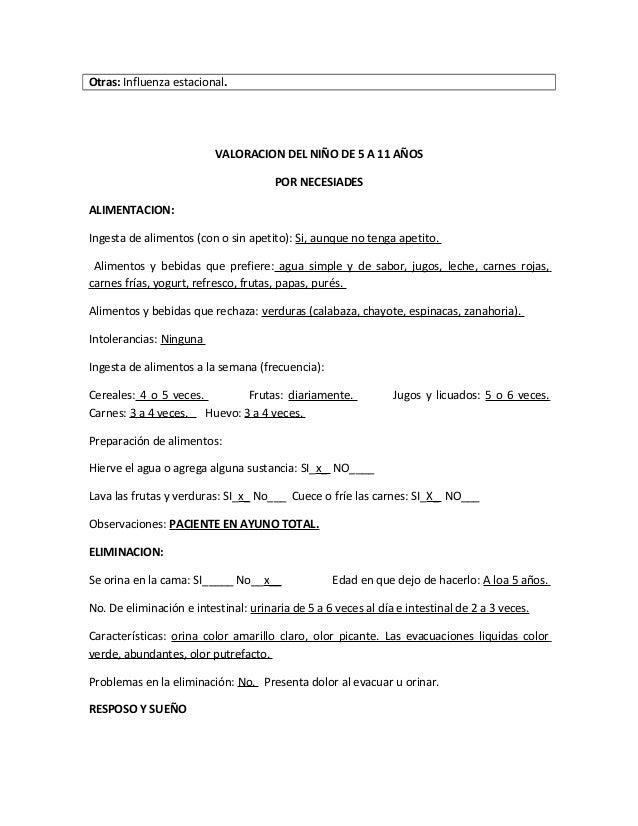 Otras: Influenza estacional.VALORACION DEL NIÑO DE 5 A 11 AÑOSPOR NECESIADESALIMENTACION:Ingesta de alimentos (con o sin a...