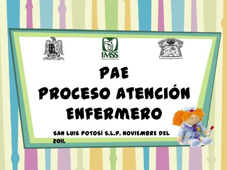 PAEProceso Atención   Enfermero SAN LUIS POTOSÍ S.L.P. NOVIEMBRE DEL 2011.