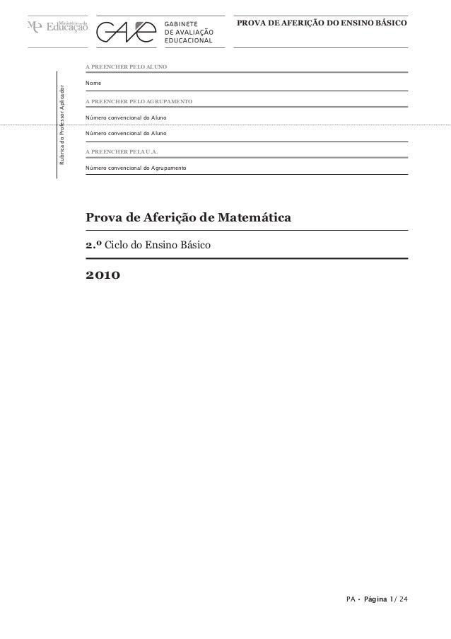 PROVA DE AFERIÇÃO DO ENSINO BÁSICO  Rubrica do Professor Aplicador  A PREENCHER PELO ALUNO Nome A PREENCHER PELO AGRUPAMEN...