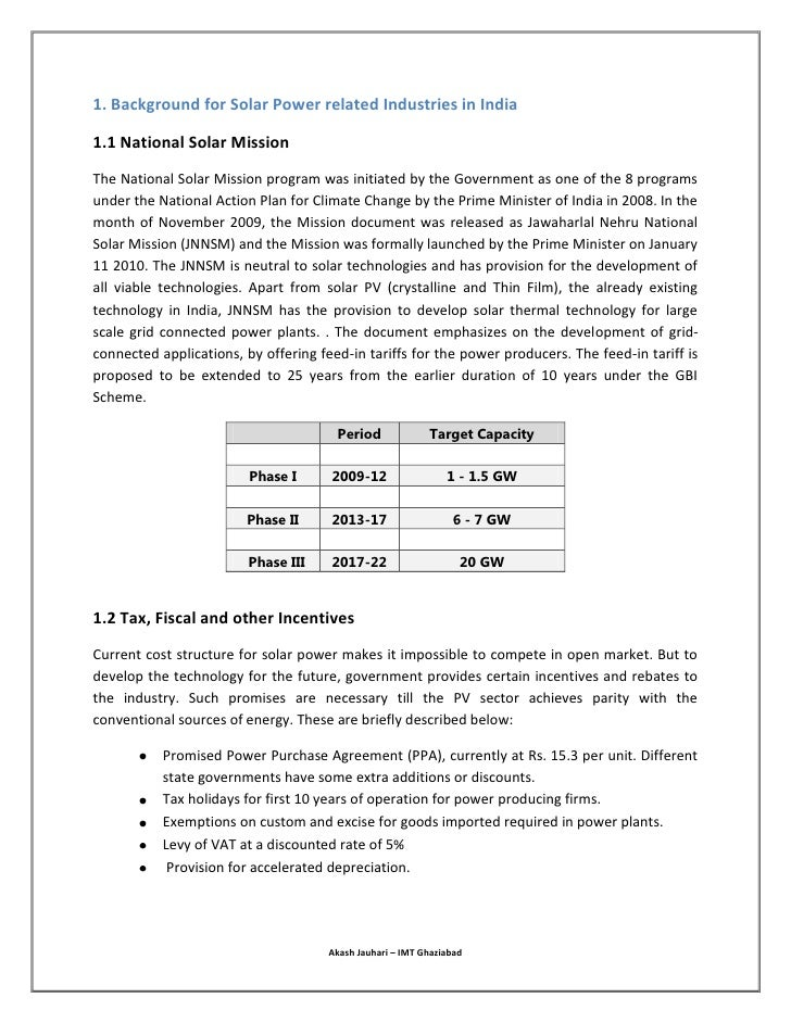 Financial Feasibility of Solar Power Plant in India