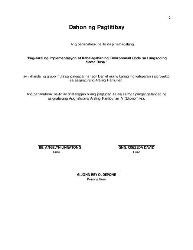 halimbawa ng pamagat thesis sa filipino