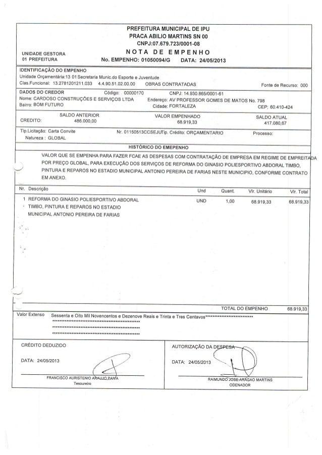 PREFEITURA MUNICIPAL DE IPU  PRACA ABILIO MARTINS SN oo CNPJ: O7.679.723l0001-08  UNIDADEGESTORA     01 PREFEITURA No.  EM...