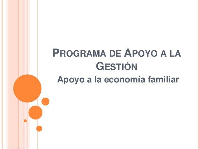 PROGRAMA DE APOYO A LA  GESTIÓN  Apoyo a la economía familiar