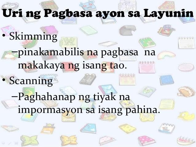 mga uri ng pagbasa Pagbasa- ito ay interpretasyon ng nakalimbag ba simbolo ng kaisipan mga hakbang sa pagbasa: 1 pagkilala- tumutukoy sa kahulugan ng bawat salita uri ng pagbasa: 1.