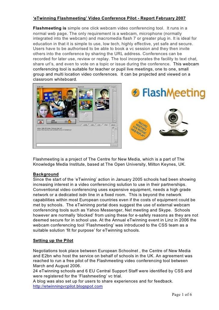 'eTwinningFlashmeeting'VideoConferencePilotReportFebruary2007  Flashmeetingissimpleoneclickwebcamvideocon...