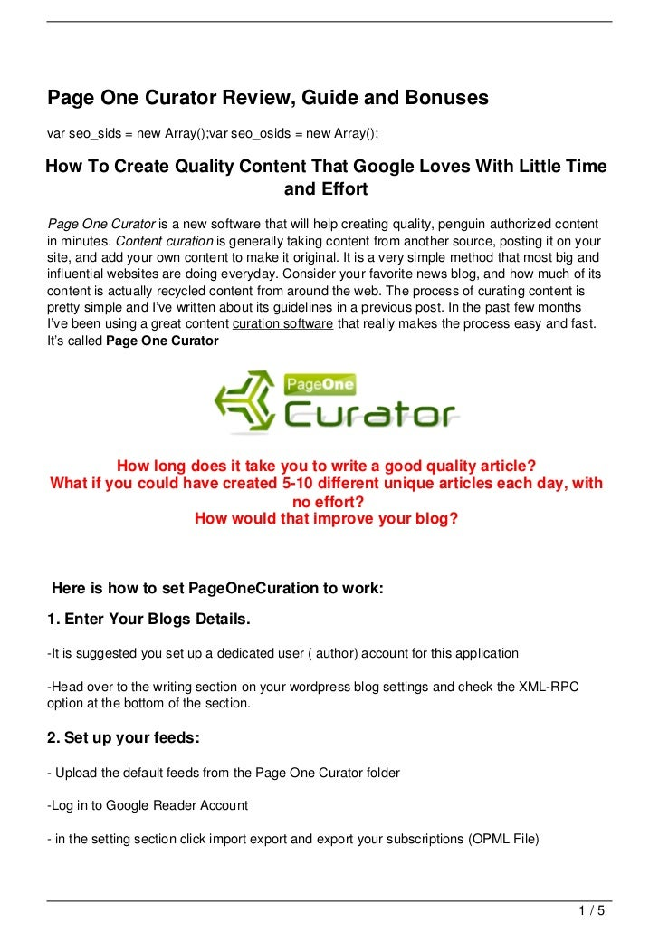 Page One Curator Review, Guide and Bonusesvar seo_sids = new Array();var seo_osids = new Array();How To Create Quality Con...