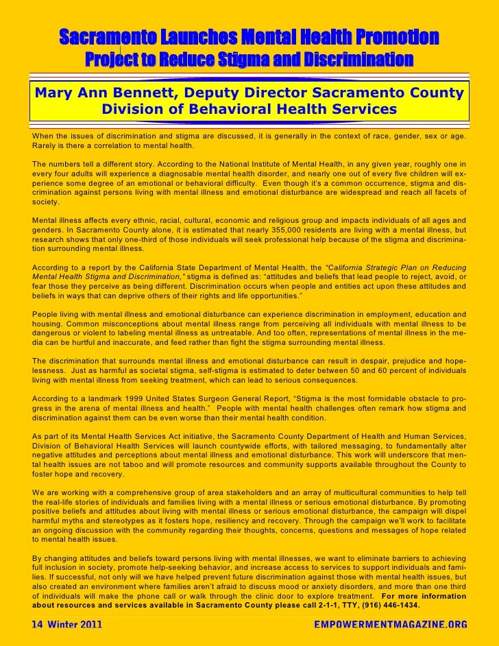 Sacramento Launches Mental Health Promotion               Project to Reduce Stigma and DiscriminationMary Ann Bennett, Dep...