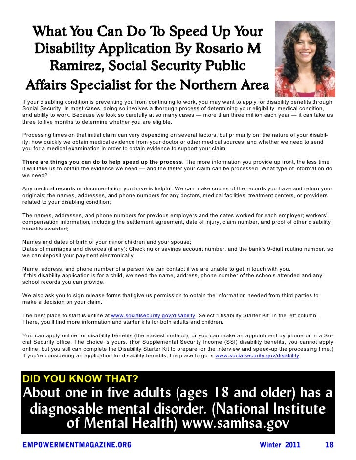 What You Can Do To Speed Up Your  Disability Application By Rosario M     Ramirez, Social Security Public Affairs Speciali...